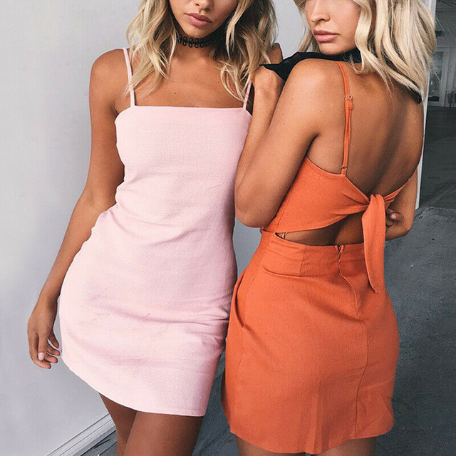 Summer Women Plain Solid Color Bandage Dress Sexy Elegant Backless Spaghetti Strap Bodycon Evening Party Club Mini Dress