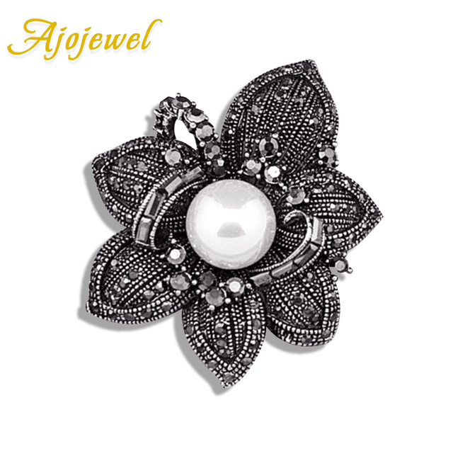 Ajojewel Fashion Big Flower Rhinestone Brooch Vintage Antique Style Women Costume Jewelry With Simulated Pearl