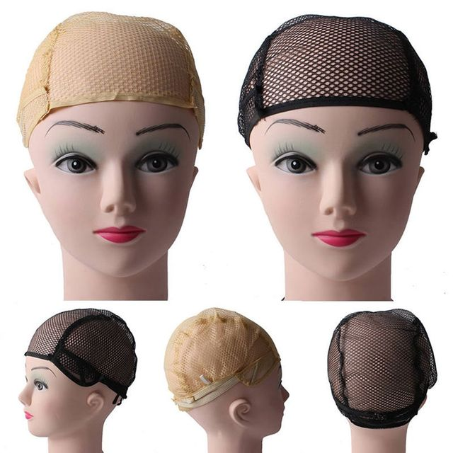 Hairnets Good Quality Mesh Weaving Black Wig Hair Net Making Caps Weaving Wig Cap & Hairnets Opened at One Ends Black Beige