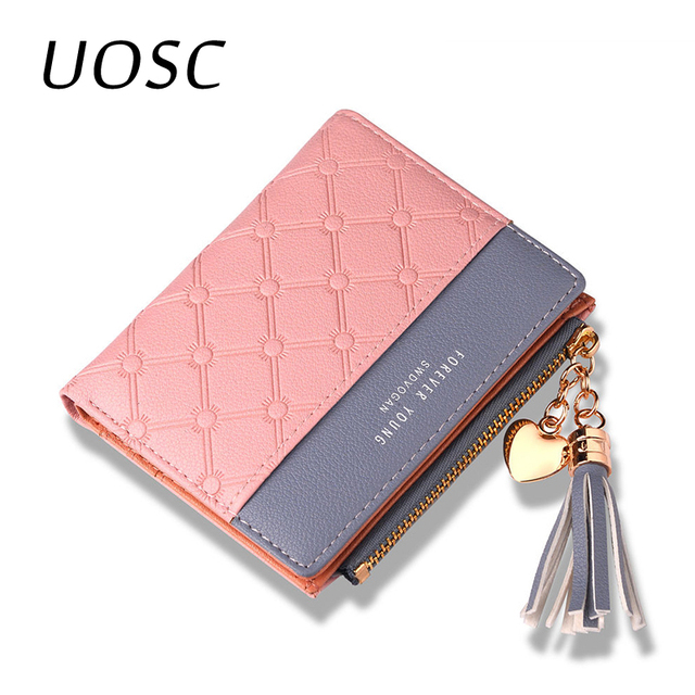 UOSC Leather Women's Wallet Cute Fashion Purse Long Zip Bag Coin Card Holder Soft Leather Phone Card Wallets Female Clutch 2019