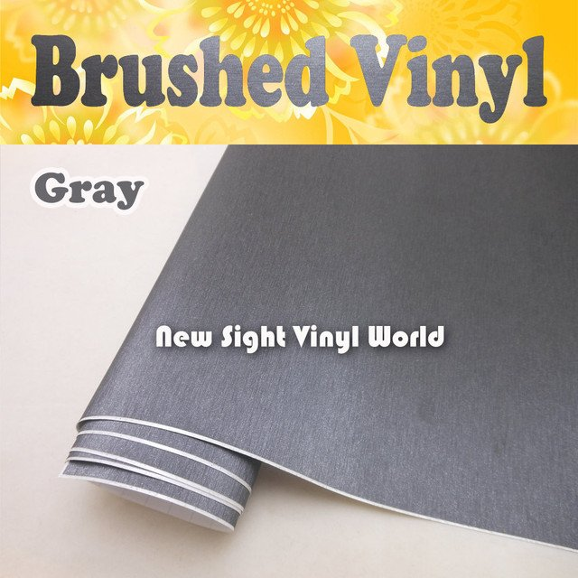 High Quality Brushed Metallic Grey Vinyl Wrap Brushed Gray Car Wrap Air Bubble Free Size:1.52*30M/Roll