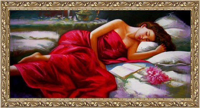 Free shipping famous classical art picture,DIY picture,Sleeping Beauties,picture frame