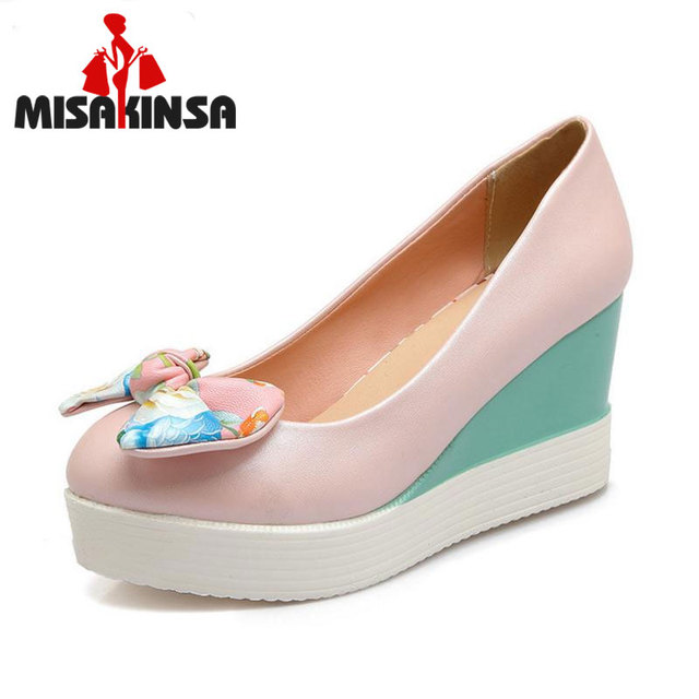 FITWEE Size 34-41 Lady High Heeled Shoes Women Round Toe Platform Wedges High Heel Pumps Nude Color Bowtie Students Footwear