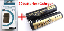 20PCS ultrafire 18650 battery 4600mAh 3.7V Rechargeable Battery for LED Flashlight+18650 Dual Wall Charger Free Shipping