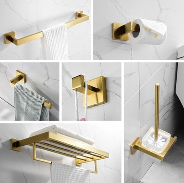 Gold Bathroom Accessories Set 304 Stainless Steel Toilet Paper Holder Toilet Brush Holder Wall Mounted Brushed Bathroom Hardware