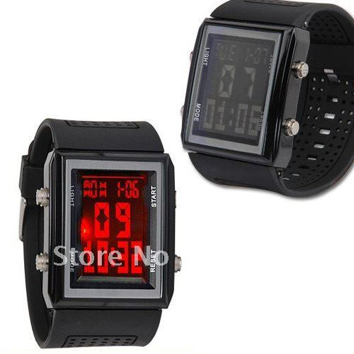 Free shipping!hot sale,2012,wholesale,black digital red led sport NR fashion style men ladies wrist watches for boy womens w001