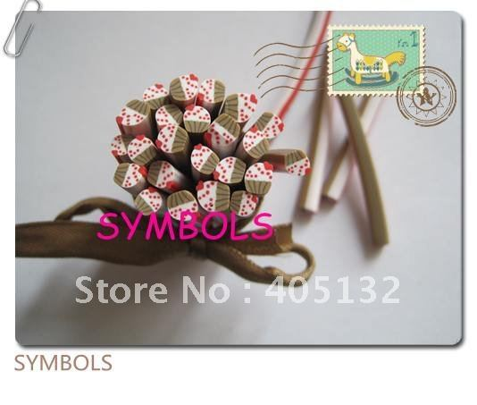 m-23 Free Shipping 100pcs 5mm Cute Red Strawberry Cupcake Polymer Clay Cane Fancy Nail Art  Polymer Clay Cane