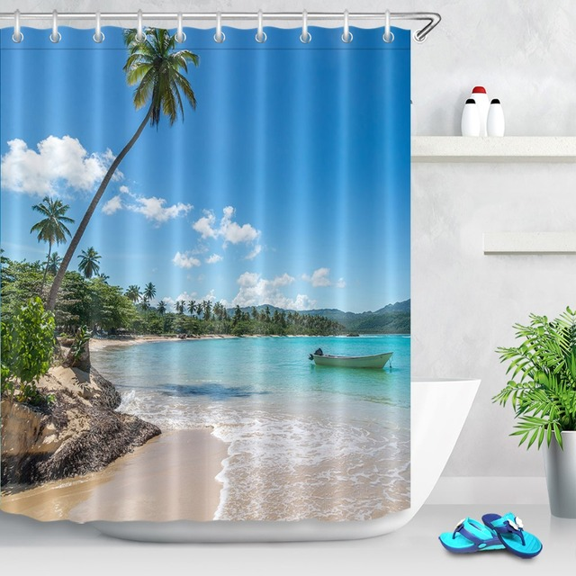 72'' Bathroom Waterproof Fabric Shower Curtain Polyester 12 Hooks Bath Accessory Sets Boat On Turquoise Sea Beach Tropical Trees