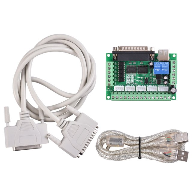 MACH3 Engraving Machine 5 Axis CNC Adapter Breakout Board Optical Coupler Stepper Motor Driver Controller USBDB25 Parallel Cable