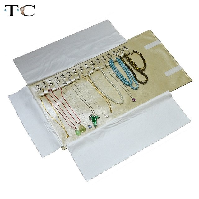 Fashion Fabric Jewelry Box Wholesale Beige Leather Jewelry Display Storage Bag Stud Necklace Pendant Roll Bag