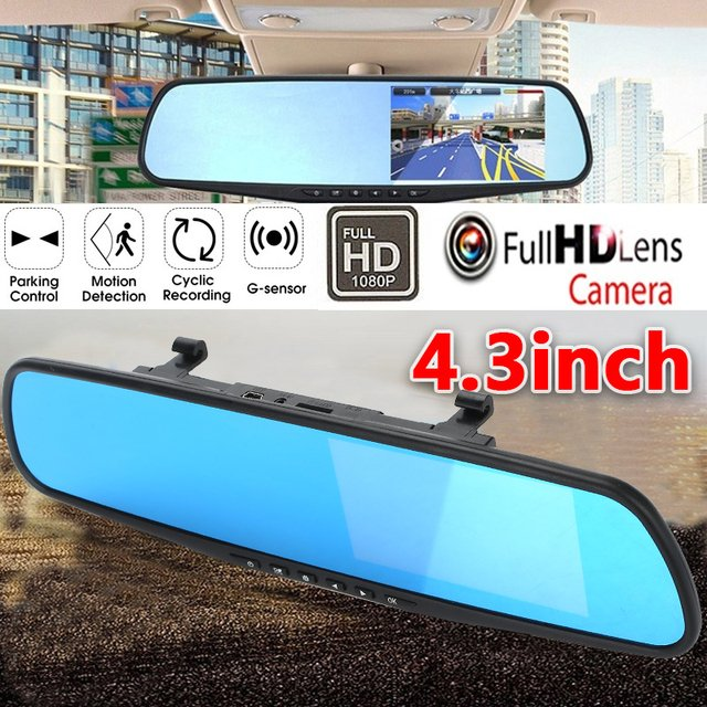 Vehicle Rearview Mirror Camera Motion Detection Recorder Portable Auto Camcorder Digital Video Car Accessories FHD 1080P 4.3''