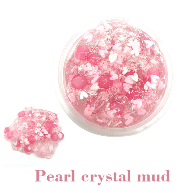 Clear Slime Fluffy Clay Transparent Pink Heart-Shaped Foam Slime Toys Decompression Clay Toys Pate slime gum For slime kit
