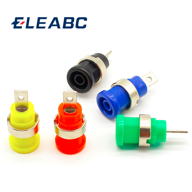 5pcs Banana plugs black+red+blue+yellow+green banana female jack binding post wire connector mix colors