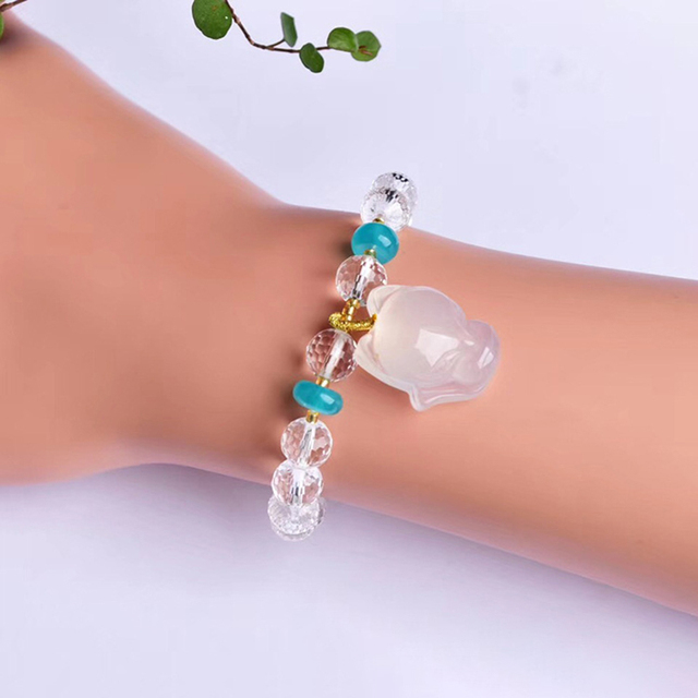 Wholesale Open light White Crystal Bracelets Faceted Bead With Fox Bracelets Lucky for Women Gift Help Marriage Fashion Jewelry
