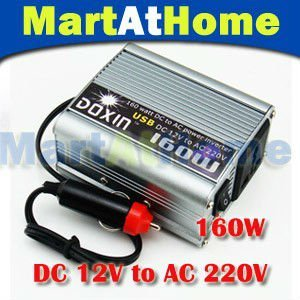 NEW 160W USB POWER INVERTER DC 12V to AC 220V Modified-sine Wave for Mobile Car TV DC #10189 @CF