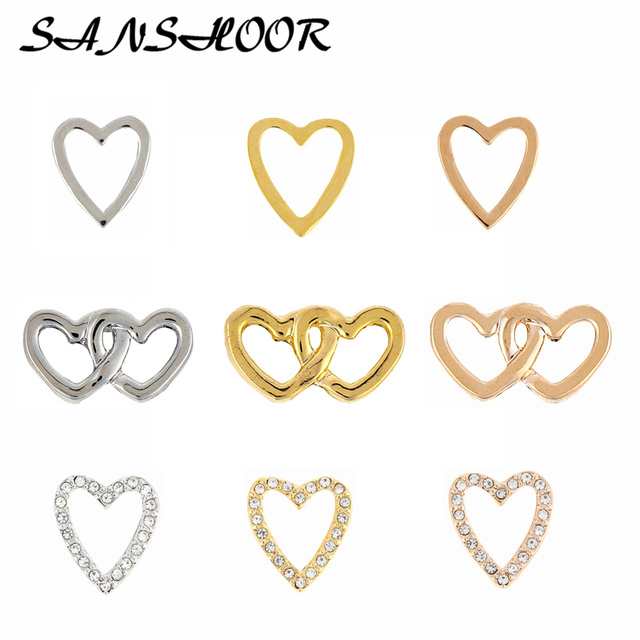 SANSHOOR Interlocking Heart Pave Charms Keeper Slide Charms Fit Leather Wrap Bracelet Key Chains Necklace As Women Gifts 9pcs