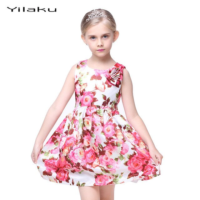Floral Print Girls Dress 2017 Summer Sleeveless Girls Clothes Party Wedding Costume for Kids Dresses Princess Girl Dress CA282