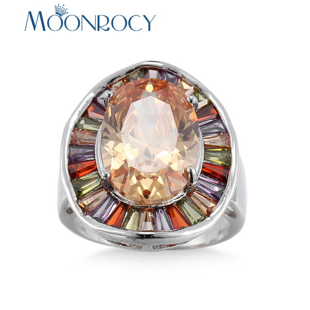 MOONROCY Silver Color Cubic Zirconia CZ Colourful Crystal Party Rings Heart for Women Girls Drop Shipping Jewelry Ring Gift