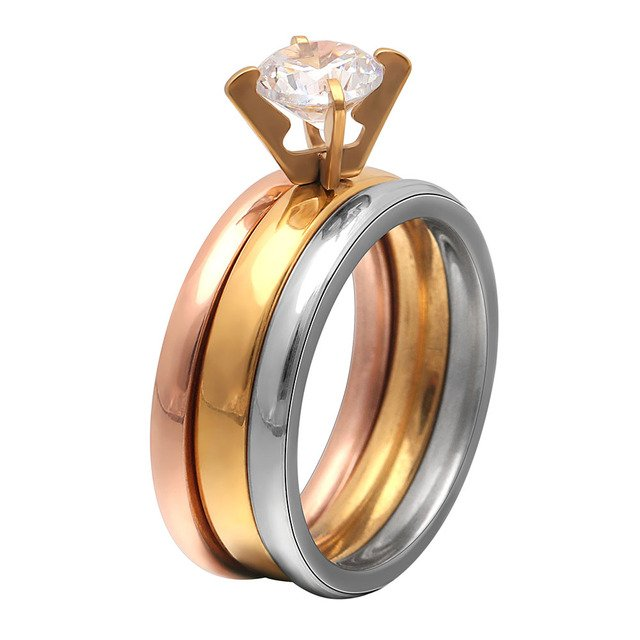 3 pcs ring sets 316L stainless steel ring for women classic finger rings jewelry Fashion engagement wedding rose gold color ring