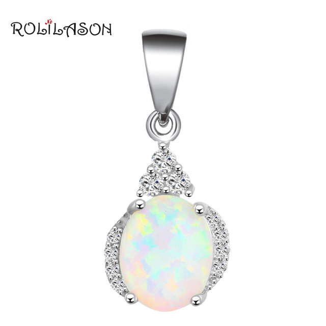 New ! High Quality Good mood Beautiful White Fire Opal Silver Stamped Pendants Fashion jewelry OP457