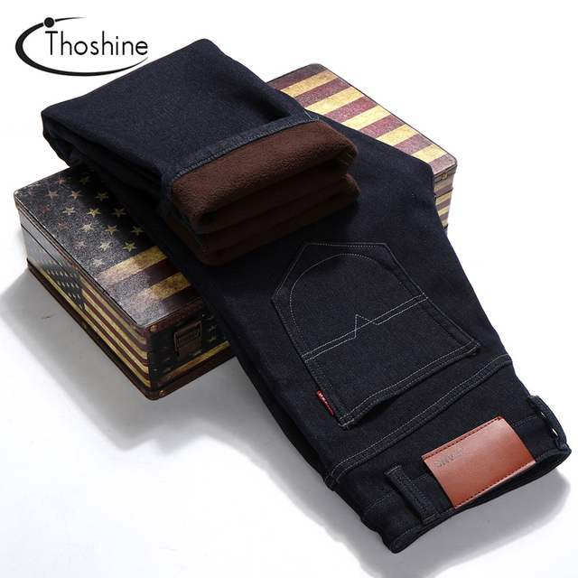 Thoshine 2017 New Autumn Winter Men Cashmere Denim Trousers Fashion Keep Warm Thick Straight Male Jeans Casual Pants Outwear