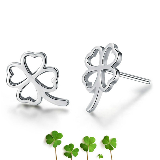 Simple 925 Sterling Silver Stud Four Leaf Clover Earrings Small Silver Stud Earrings
