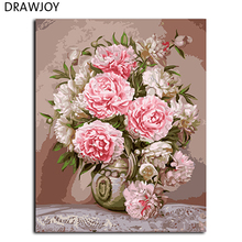 Flower DIY Painting By Numbers Frameless Pictures Digital Canvas Oil Painting Home Decor For Living Room Wall Art GX9683 40*50cm