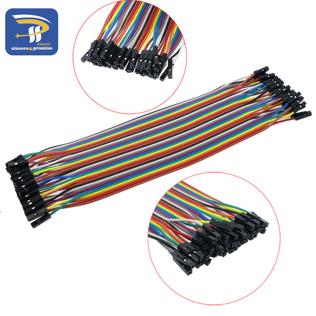 40pcs in Row Dupont Cable 20cm 2.54mm 1pin 1p-1p Female to Female Jumper Wire for Arduino breadboard