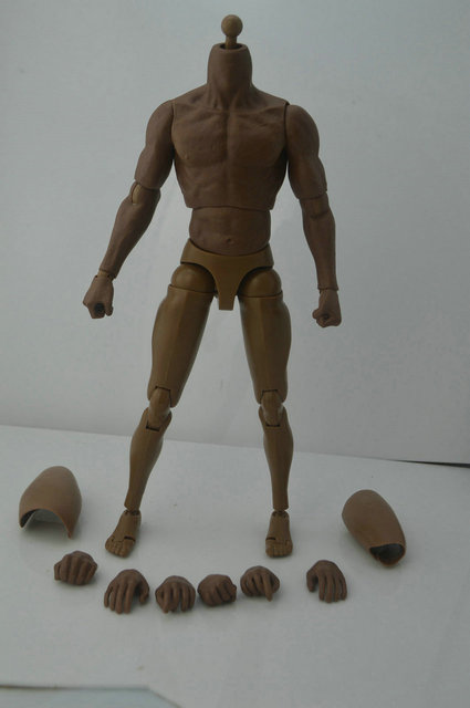 """ZC Toys 1/6 Scale black Muscular Nude Action Figure Body for hot toy Free Shipping for 12"""" Action Figure doll Toys soldier model"""