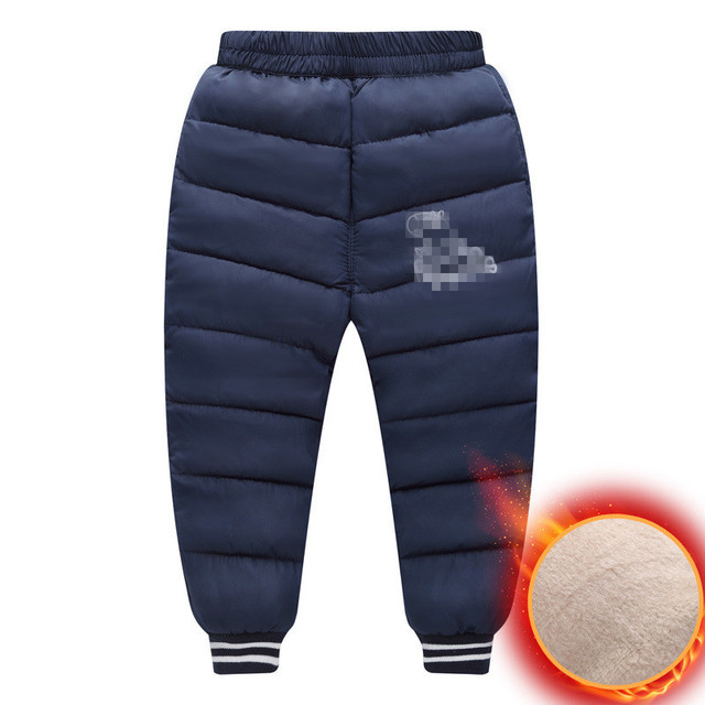 Children Down Cotton Trousers For Girls Plus Velvet Thickening Pants Kids Boys Warm Pants Outerwear Down Pants Windproof Fashion