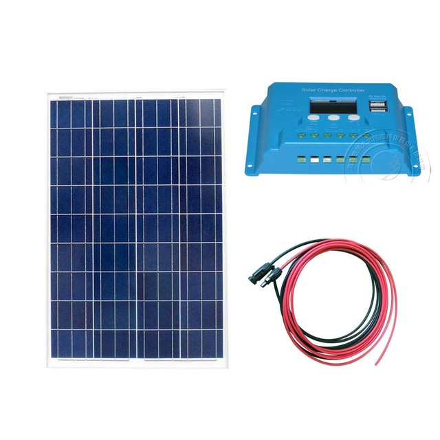 TUV Waterproof Solar Panel 12v 100w Chargeur Solaire  Solar Charge Controller 12v/24v 10A LCD PWM Caravan Car Camp Motorhomes
