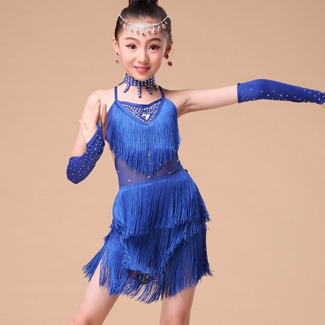 Blue Red Rose Girl Fringe Paillette Latin Dance Dress for Girls Tassel Salsa Kids Ballroom Dresses Tango Costume