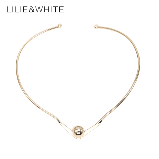 LILIE&WHITE  Triangular Torque Maxi Statement Necklace Gold Color Punk Collar Choker Necklace Women Jewelry Wholesale HC