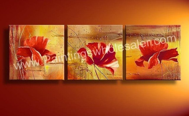 hand-painted  wall art Red fruit trees abstract  Landscape oil painting on canvas 3pcs/set mixorde