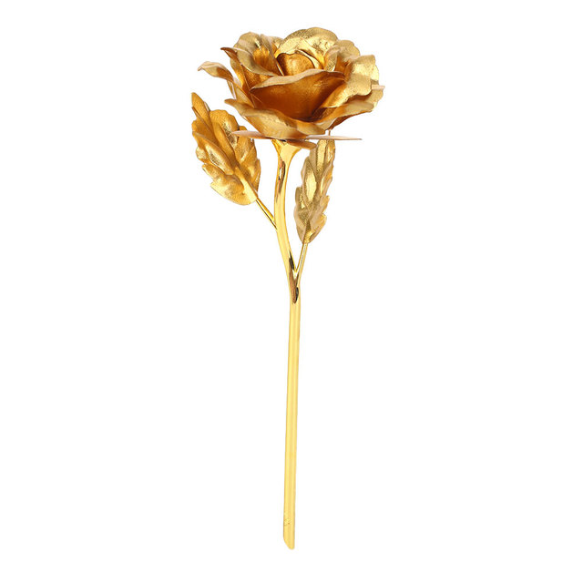 Valentine's Day Gift 24K Gold Foil Plated Golden Rose Flower Present Wedding Party Decoration Artificial 24K Rose Romantic