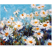 diy Oil Painting White daisy By Numbers Wall Pictures For Living Room Coloring By Numbers Canvas Painting Wall Art Decor