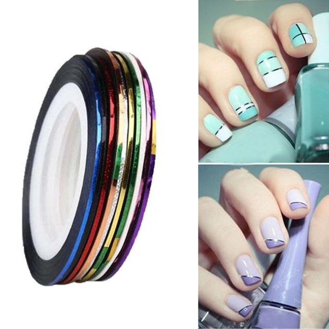 10 Rolls Rolls Mixed Color Nail Striping Tape Decal DIY 3D Variety Nail Art Tips Decorations Nail Line Foil nail Sticker