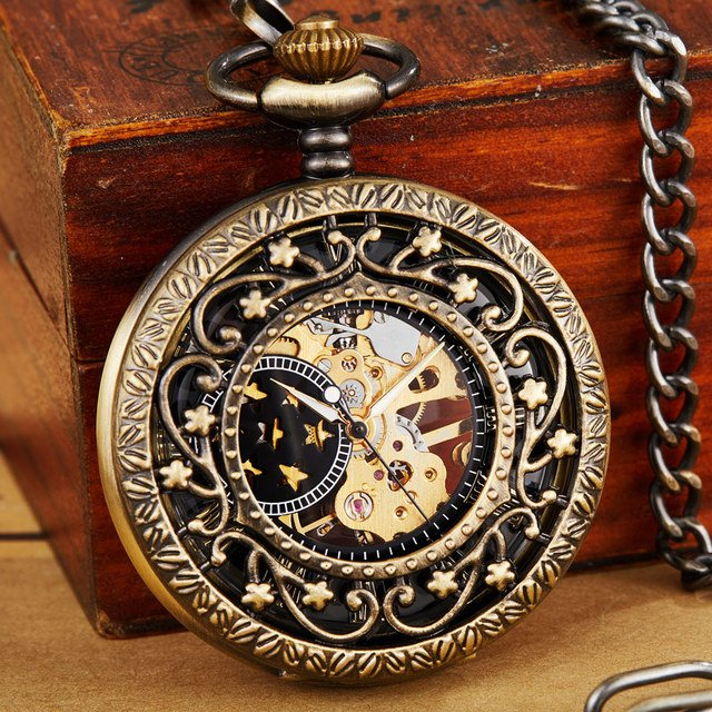Star Hollow Vintage Steampunk Mechanical Pocket Watch Necklace Hand Wind Carve Hollow Fob Clock Pendant Chain For Men Women Gift