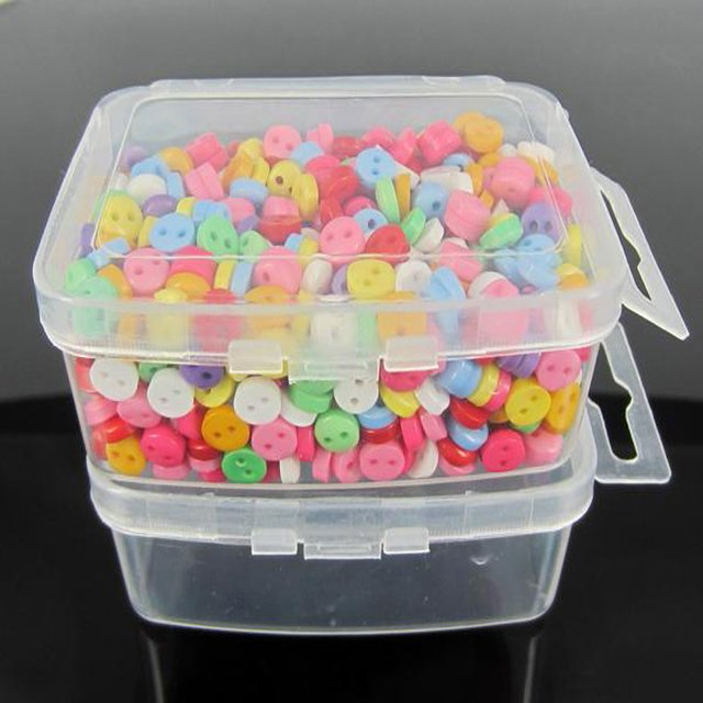 Free Shipping 800pcs Mixed Mini Combined Resin Buttons 6.0mm + Clear Storage Box