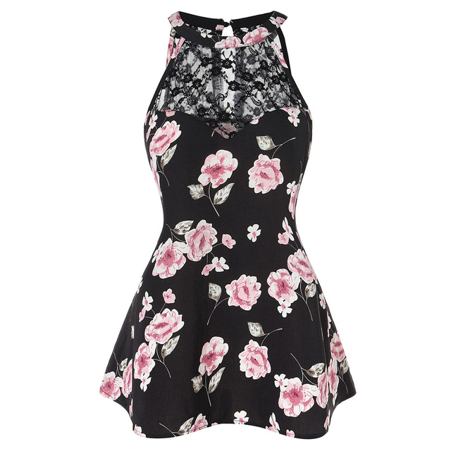 ROSE GAL Big Size Print Cut Out Tunic Tank Top Summer Hollow Out O Neck Sleeveless Tops Tees Plus Size Women Clothing