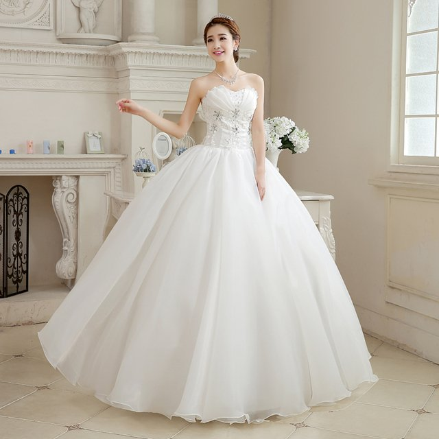 Brand New Wedding Dresses with Appliques White/Ivory Ball Gown Organza Formal Dress Elegant Vestidos De Novia Bridal Gown