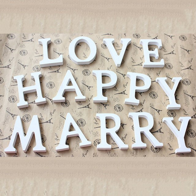 Creative wooden letters Wood PVC Letters Alphabet Word Bridal Wedding Party Home Decor
