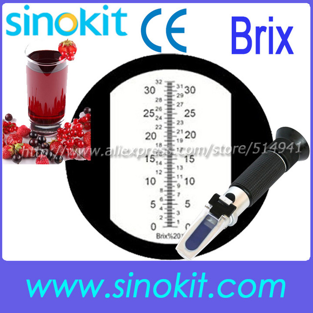 CE Certification Wholesales Brix/Sugar/ Fruit Juice Hand  Refractometer Black grip RHB-32ATC