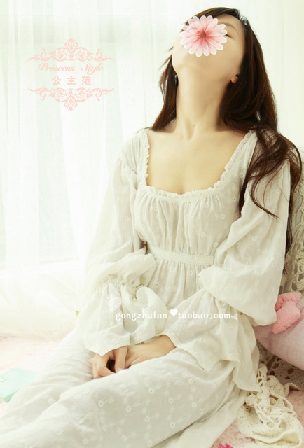 Free Shipping 100% Cotton Prinsty Nightdress  Women's  Nightgown Long White Pijamas Embroidery Sleepwear nightdress feminino