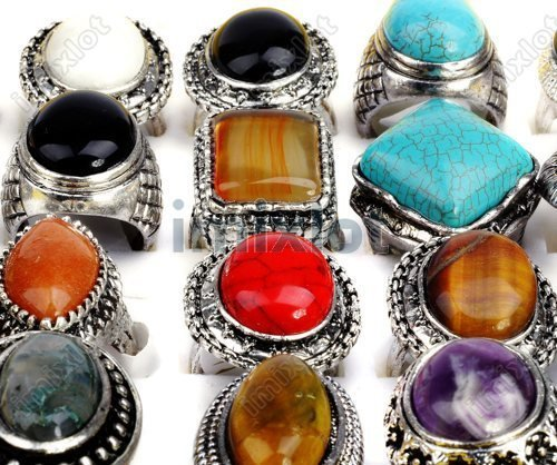 wholesale 10pcs vintage style Natural stone Silver ring Women Men Party Jewelry Gift High Quality Free Ship