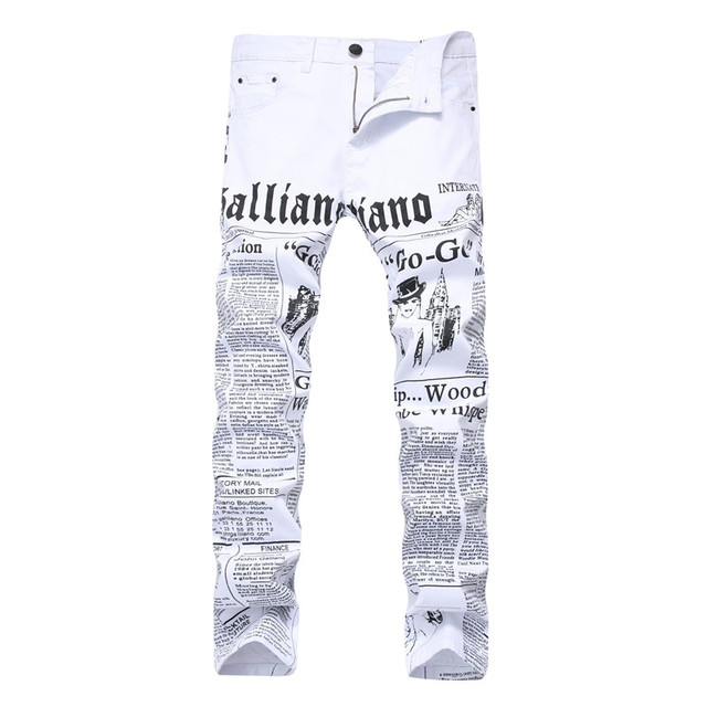 Men Jeans Stretch White Color Trousers Brand Clothing  New Fashion Hombre Casual Denim Pants  Skinny Jean Pants  Streetwear