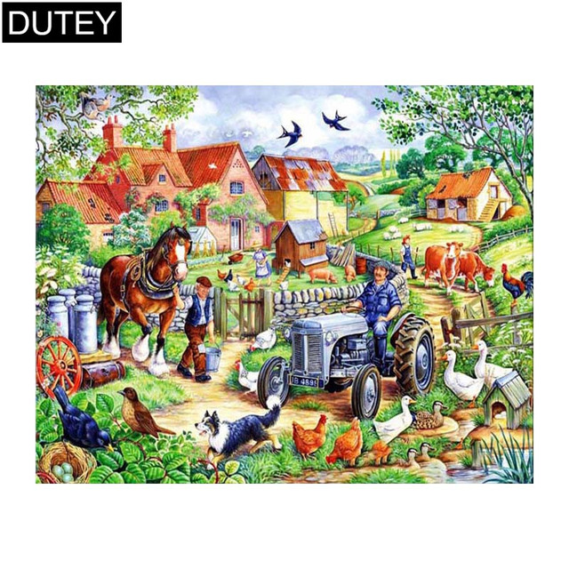 """Full Square/Round Drill 5D DIY Diamond Painting""""Lively village""""Embroidery Cross Stitch Mosaic Home Decor Gift JCC"""