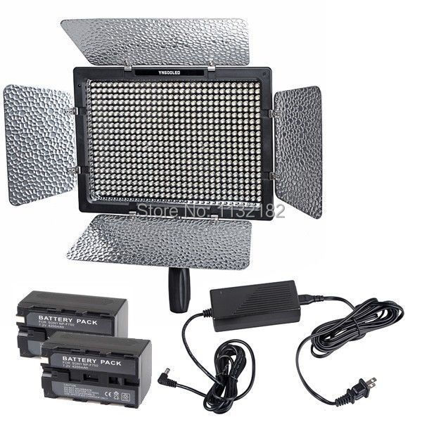 Hot Sale Yongnuo YN-600 5500K LED video light for Camcorder+ AC Adapter +2pcs NP-F750 Battery
