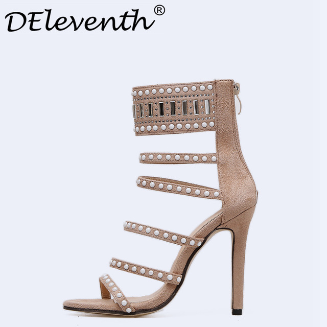 DEleventh Fashion Women Sandals Summer 2018 Zipper Clear Crystal Stiletto High Heels Shoes Woman Sandals Zapatos Mujer Apricot