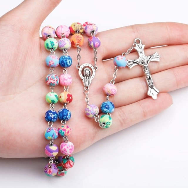 2018 New Products Polymer Clay Beads Catholic Rosary Necklace Statement Multicolored Beads Cross Religious Necklace...